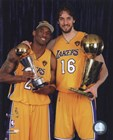 Kobe Bryant & Pau Gasol with 2010 NBA Finals Trophies in Studio (#26) art print